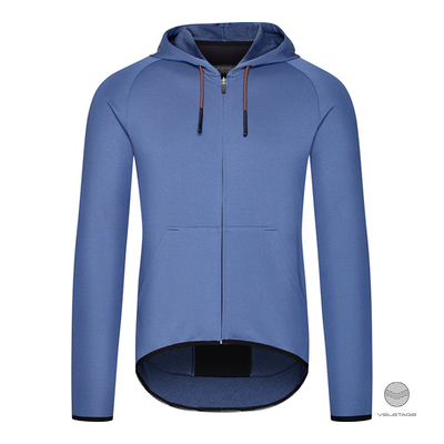 Cafe du Cycliste - SOLENNE M gravel jersey with hood - Blau